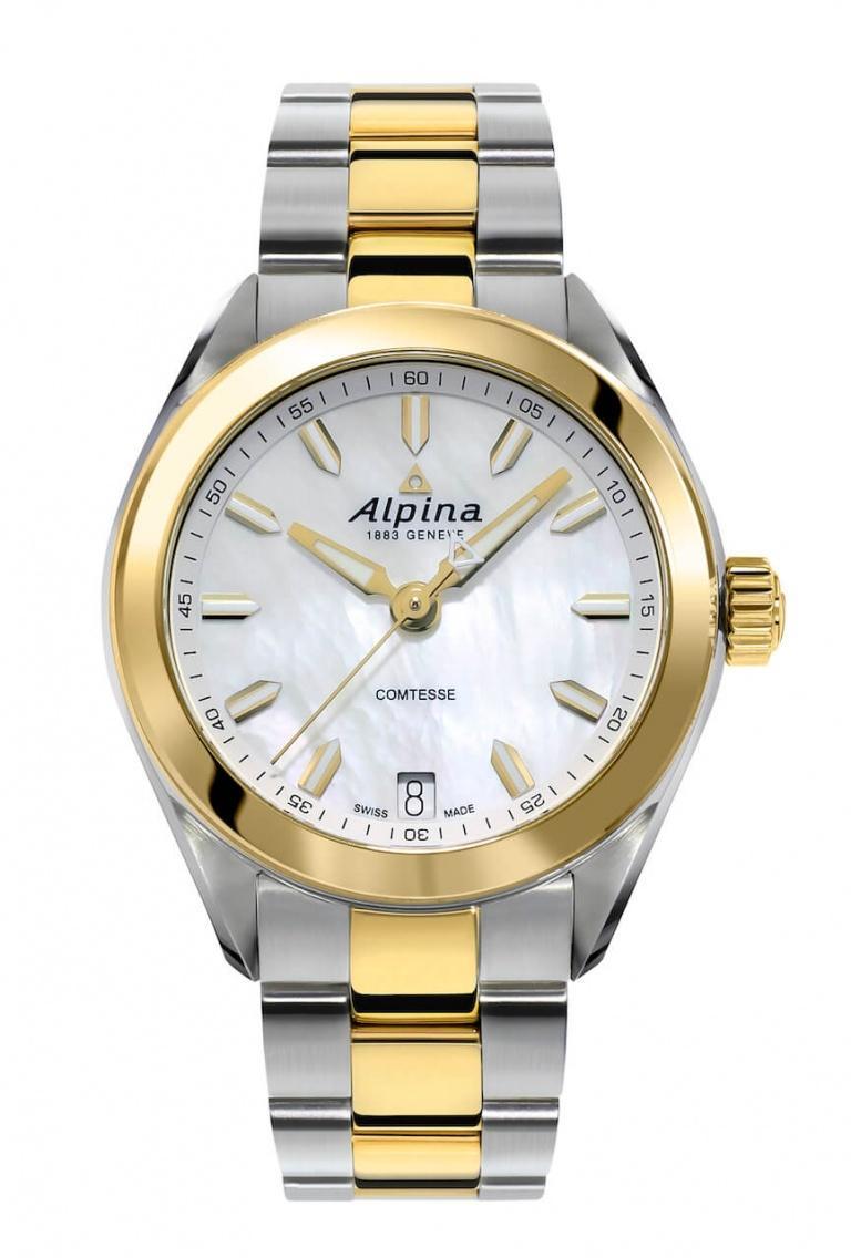 ALPINA COMTESSE GOLD & STEEL 34mm AL-240MPW2C3B Blanc