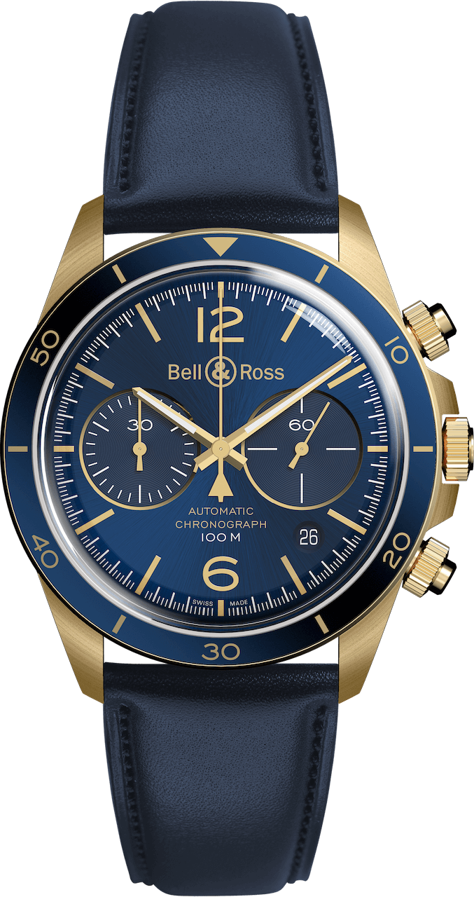 BELL & ROSS VINTAGE BR V2-94 BR V2-94 AERONAVALE BRONZE 41mm BRV294-BLU-BR/SCA Bleu
