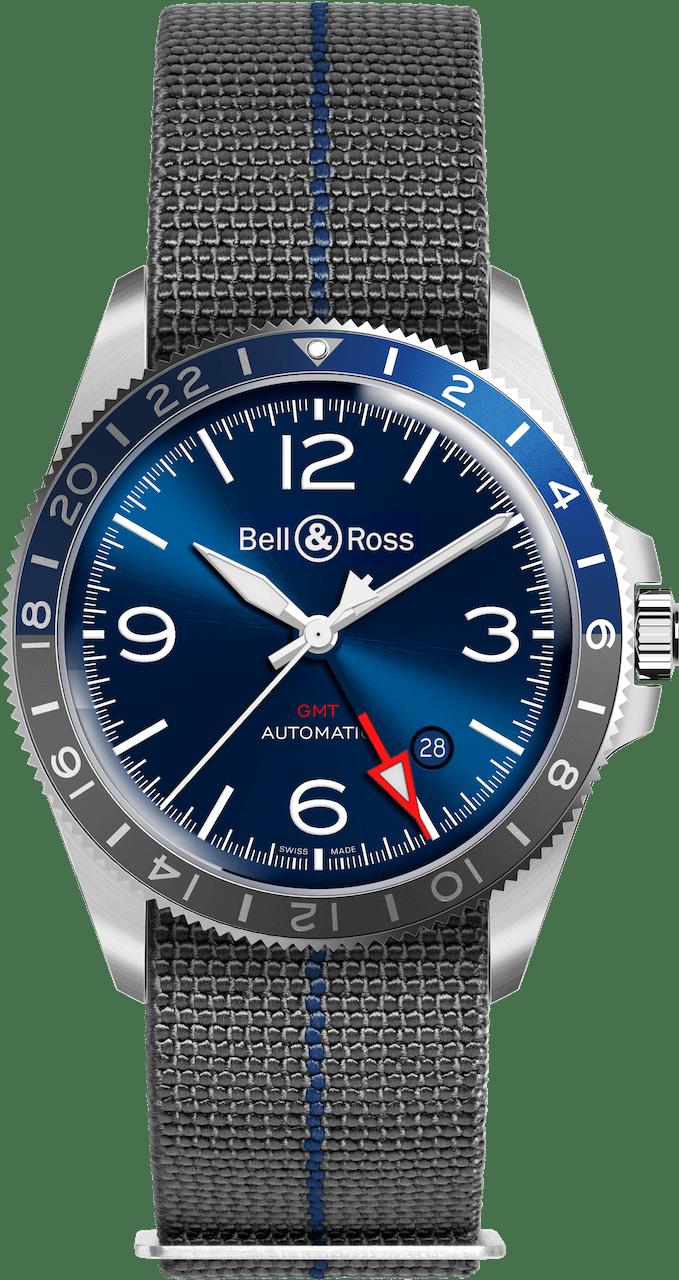 BELL & ROSS VINTAGE BR V2-93 BR V2-93 GMT 41mm BRV293-BLU-ST/SF Blue