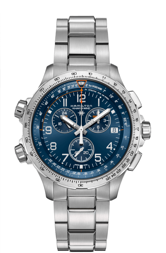 HAMILTON KHAKI X-WIND GMT CHRONO QUARTZ 46mm H77922141 Bleu